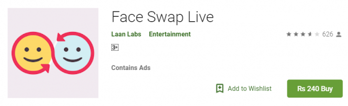 Face swipe filter app